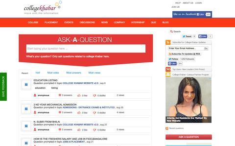 Screenshot of FAQ Page collegekhabar.com - Recent questions - captured Sept. 19, 2014