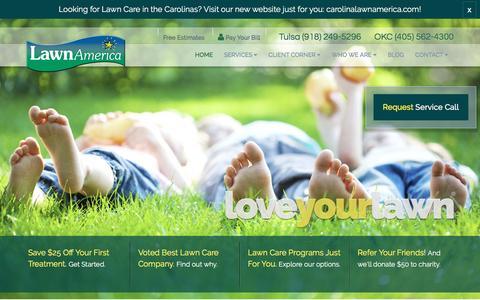 Screenshot of Home Page lawnamerica.com - Lawn Care, Landscape Maintenance | Oklahoma City, Tulsa OK | LawnAmerica - captured July 12, 2016