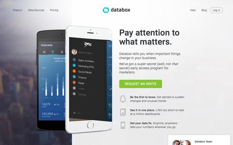 Screenshot of Home Page databox.com - Analytics   KPI Dashboard   Databox - captured Nov. 3, 2015