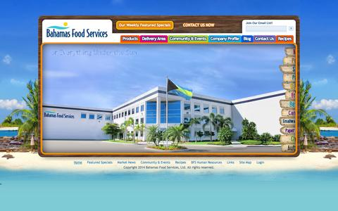 Screenshot of Home Page bahamafood.com - Bahamas Food Services - captured Oct. 5, 2014