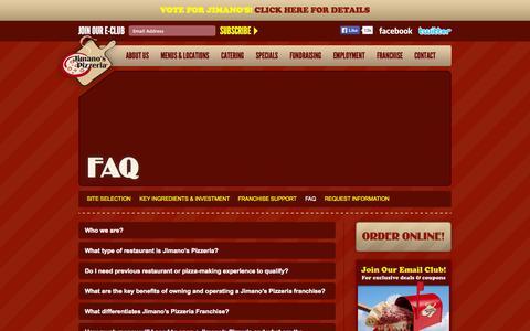 Screenshot of FAQ Page jimanos.com - Jimanos Pizzeria  - FAQ - captured Oct. 6, 2014