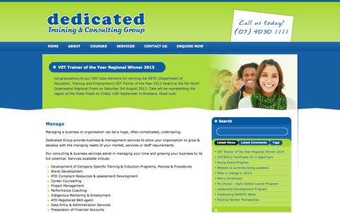 Screenshot of Services Page dedicatedgroup.com.au - Dedicated Training & Consulting Group   » Manage - captured Oct. 5, 2014