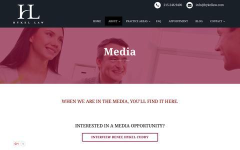 Screenshot of Press Page hykellaw.com - Media | - captured Dec. 6, 2015