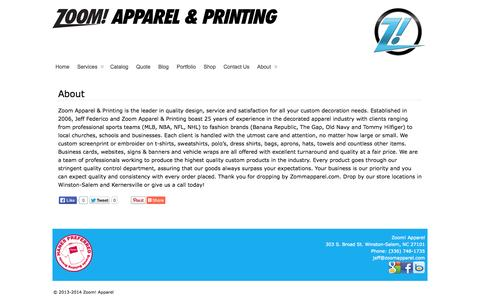 Screenshot of About Page zoomapparel.com - About - Zoom! Apparel - captured Oct. 27, 2014