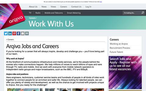Screenshot of Jobs Page arqiva.com - Work for us – Current vacancies - Jobs and careers at Arqiva - captured June 1, 2019