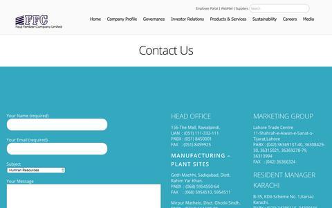 Screenshot of Contact Page ffc.com.pk - Contact – Fauji Fertilizer Company Limited - captured Sept. 22, 2018