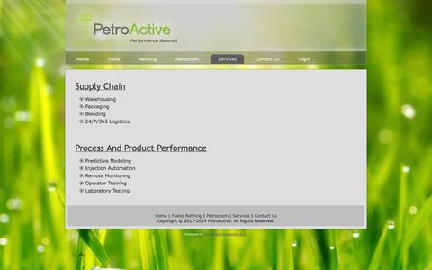 Screenshot of Services Page petroactive.com - Services - captured Sept. 29, 2014