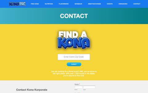 Screenshot of Contact Page kona-ice.com - Contact Kona Ice - captured Feb. 12, 2019