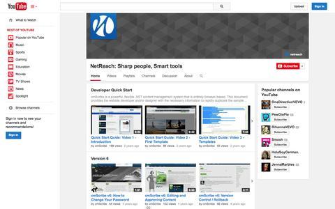 Screenshot of YouTube Page youtube.com - NetReach:  Sharp people, Smart tools  - YouTube - captured Oct. 23, 2014