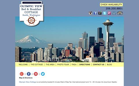 Screenshot of Contact Page Maps & Directions Page olympicviewbb.com - Waterfront Lodging in Seattle with Views of Puget Sound - captured July 1, 2018