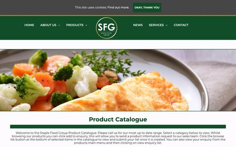 Screenshot of Products Page staplefoodgroup.co.uk - Welcome To The Product Catalogue | Staple Food Group - captured Oct. 19, 2018