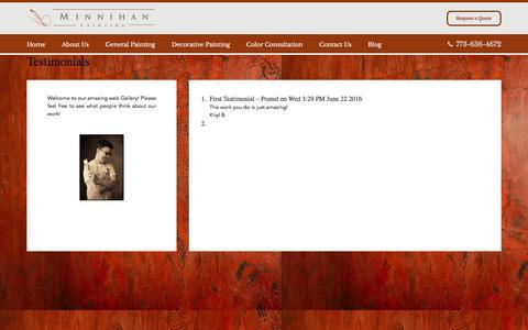 Screenshot of Testimonials Page minnihanpainting.com - Testimonials | Minnihan Painting - captured Oct. 25, 2016