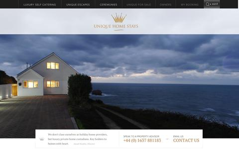 Screenshot of Home Page uniquehomestays.com - Luxury Breaks, Luxury Self-catering Breaks, Luxury cottage breaks Cornwall, UK - captured Sept. 25, 2014