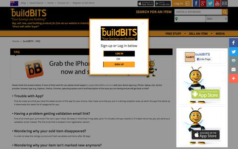 Screenshot of FAQ Page buildbits.com.au - buildBITS - FAQ - captured Sept. 24, 2018