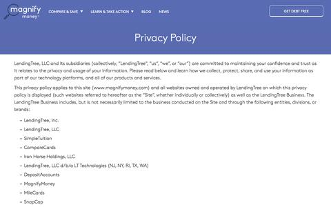 Screenshot of Privacy Page magnifymoney.com - Privacy Policy | MagnifyMoney - captured Sept. 22, 2018