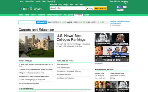 Screenshot of Jobs Page msn.com - Careers and Education – MSN Money - captured Sept. 19, 2014