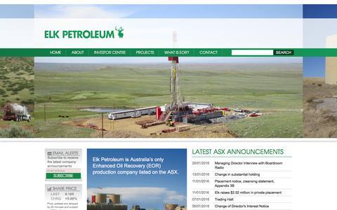 Screenshot of Home Page elkpet.com - Elk Petroleum - captured Jan. 27, 2016