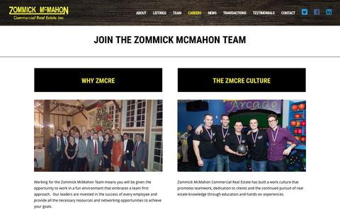Screenshot of Jobs Page zmcre.com - Careers - Zommick McMahon Commercial Real Estate, Inc. - captured Sept. 24, 2016