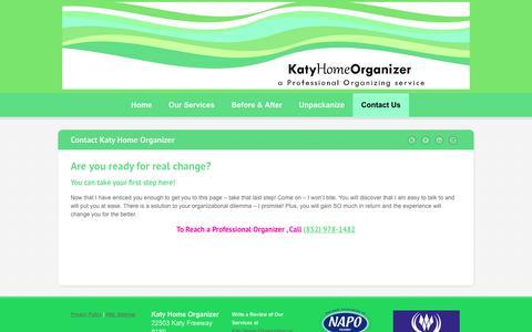 Screenshot of Contact Page katyhomeorganizer.com - Contact Your Houston Area Home Organizer | Call 832 978 1482 - captured Sept. 20, 2018