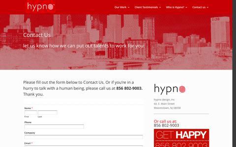 Screenshot of Contact Page hypnodesign.com - Contact Us - hypno design - captured Feb. 2, 2016