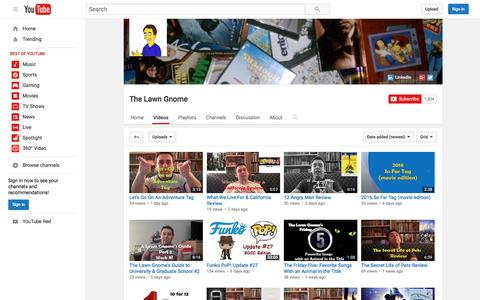 Screenshot of youtube.com - The Lawn Gnome  - YouTube - captured July 22, 2016