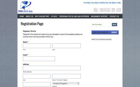 Screenshot of Signup Page prsoilandgas.com - Registration Page - captured Jan. 23, 2016