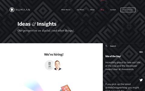 Screenshot of Blog humaan.com - Ideas & Insights – The Humaan blog - captured Sept. 22, 2014