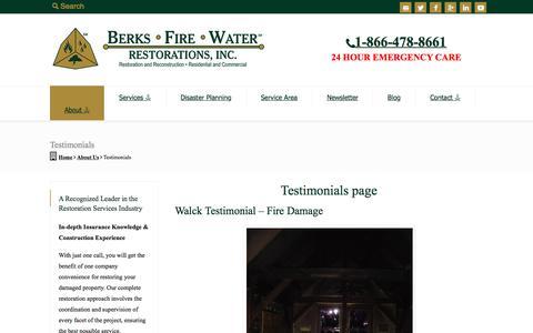 Screenshot of Testimonials Page bfwrestorations.com - Testimonials | Berks ● Fire ● Water Restorations - captured July 31, 2018