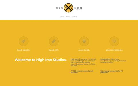 Screenshot of Home Page highironstudios.com - High Iron Studios – Independent Game Developer - captured July 19, 2018