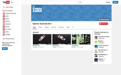 Screenshot of YouTube Page youtube.com - Gemini Techniek B.V.  - YouTube - captured Oct. 22, 2014