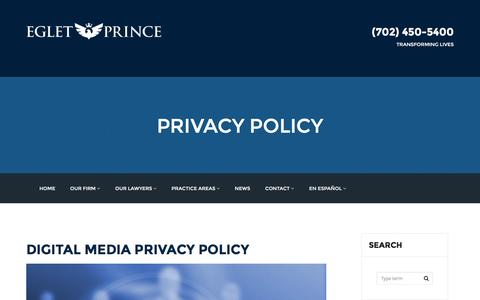 Screenshot of Privacy Page egletlaw.com - PRIVACY POLICY - egletlaw.com - captured Jan. 26, 2016