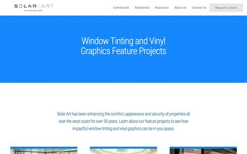 Screenshot of Case Studies Page solarart.com - Window Films and Printed Graphics | Examples of Our Work - captured Nov. 12, 2018