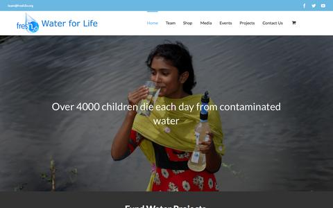 Screenshot of Home Page fresh2o.org - Fresh2o | Water for Life - captured Sept. 11, 2015