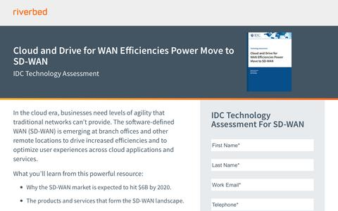 Cloud and Drive for WAN Efficiencies Power Move to SD-WAN