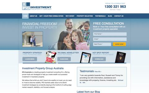 Screenshot of Home Page ipga.com.au - Property Investment, SMSF Property Investment, Loans etc - see IPGA - captured Oct. 6, 2014