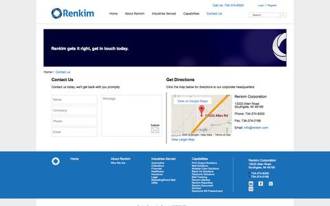 Screenshot of Contact Page Login Page renkim.com - Contact Renkim today - captured Oct. 26, 2014