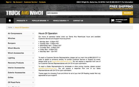 Screenshot of Hours Page truckandwinch.com - Hours Of Operation Winches Bumpers Lighting and Offroad Accessories - captured Dec. 20, 2016