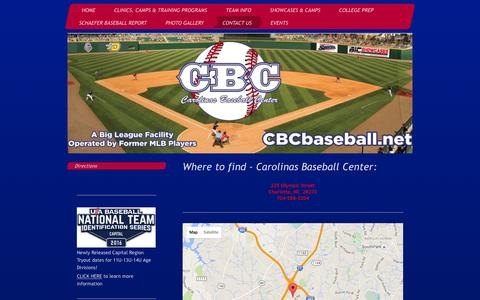 Screenshot of Maps & Directions Page cbcbaseball.net - Charlotte Youth/Travel and Showcase Baseball Community - Directions - captured Jan. 26, 2016