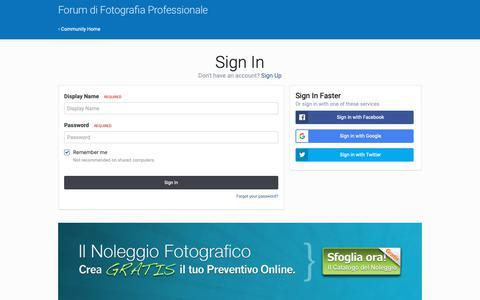 Screenshot of Login Page forumdifotografia.com - Sign In - Forum di Fotografia Professionale - captured Oct. 11, 2018