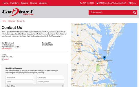 Screenshot of Contact Page Hours Page cardirectvirginia.com - Contact Car Direct USA in Virginia Beach Virginia - captured Oct. 21, 2016