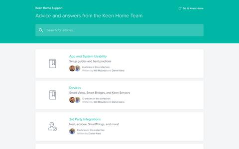 Screenshot of Support Page keenhome.io - Keen Home Support - captured July 1, 2019