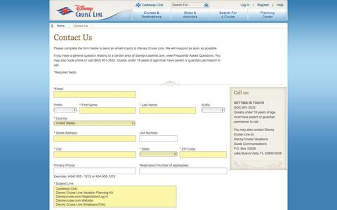 Screenshot of Contact Page go.com - Contact Us | Disney Cruise Line - captured Sept. 19, 2014