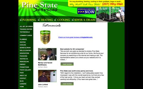Screenshot of Testimonials Page pinestateservices.com - Reviews for Pine State. - captured Sept. 29, 2014