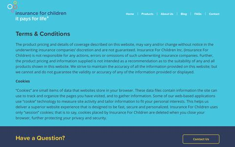 Screenshot of Terms Page insuranceforchildren.ca - Terms & Conditions - Insurance for Children - captured Sept. 19, 2018