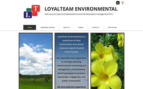 Screenshot of Home Page loyalteam.ca - LoyalTeam Environmental - captured Feb. 1, 2016