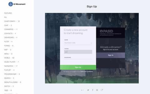Screenshot of Signup Page uimovement.com - Sign Up - UI Movement - captured Sept. 12, 2016