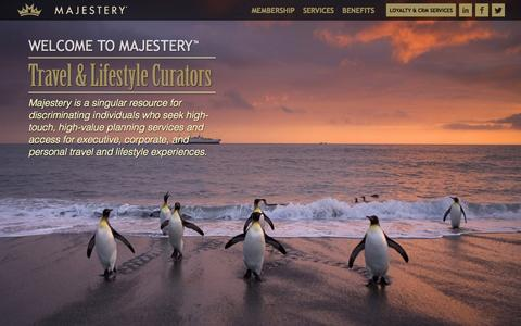 Screenshot of Home Page majestery.com - Home | Majestery | Travel & Lifestyle Curators - captured Jan. 27, 2015