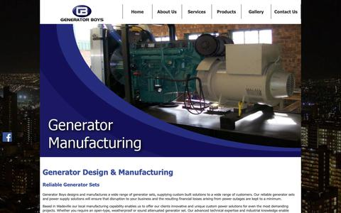 Screenshot of Home Page generator-boys.co.za - Generator Boys | Designing and Manufacturing of Generators - captured Nov. 4, 2018