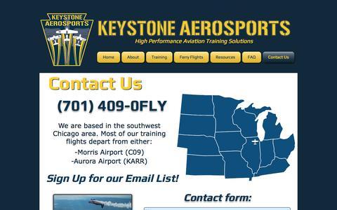 Screenshot of Contact Page keystoneaerosports.com - Contact Us - captured Aug. 9, 2016