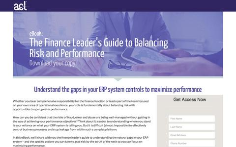 Screenshot of Landing Page acl.com - Download The Finance Leaders Guide to Balancing Risk and Performance - captured Aug. 22, 2016
